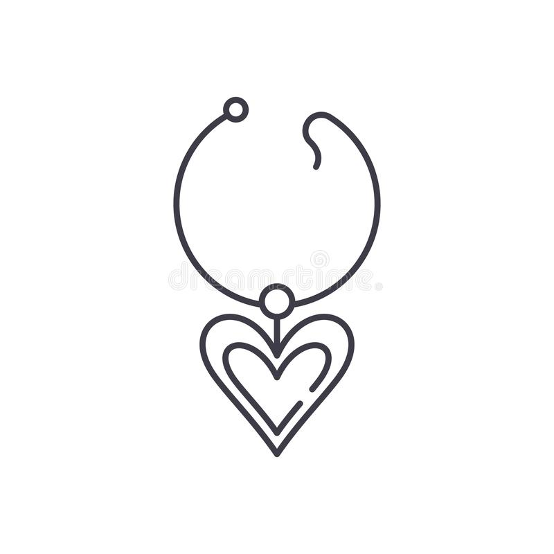 Love necklace line icon concept. Love necklace vector linear illustration, symbol, sign stock illustration