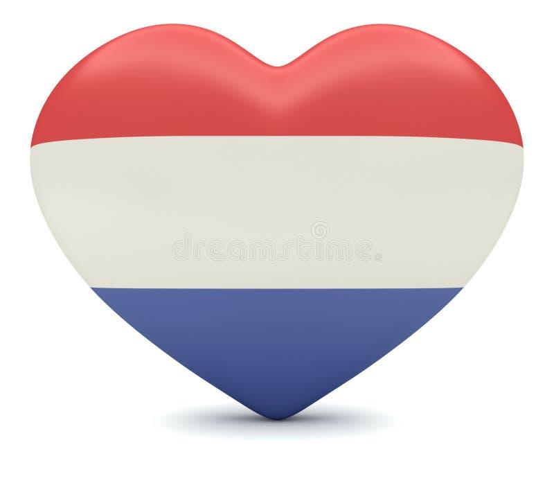 Love the Netherlands: Dutch Flag Heart 3d illustration royalty free illustration