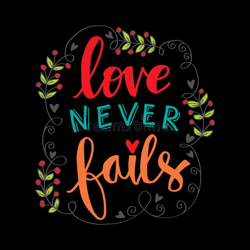 Love never fails hand lettering. stock illustration