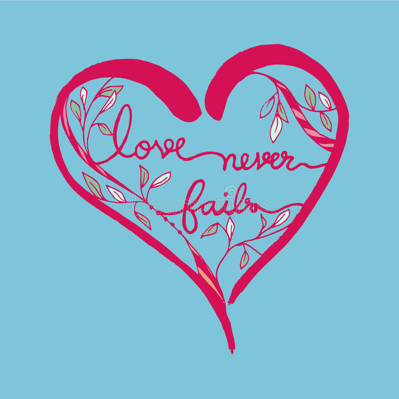 Download Love Never Fails Romantic Quote In Heart Shape Line Art  Illustration Pink On Blue Background