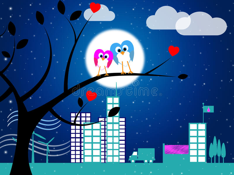Love Night Indicates Flock Of Birds And Affection stock illustration