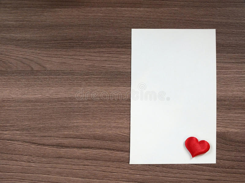 Love note on the table. Sheet of paper on the table royalty free stock photos