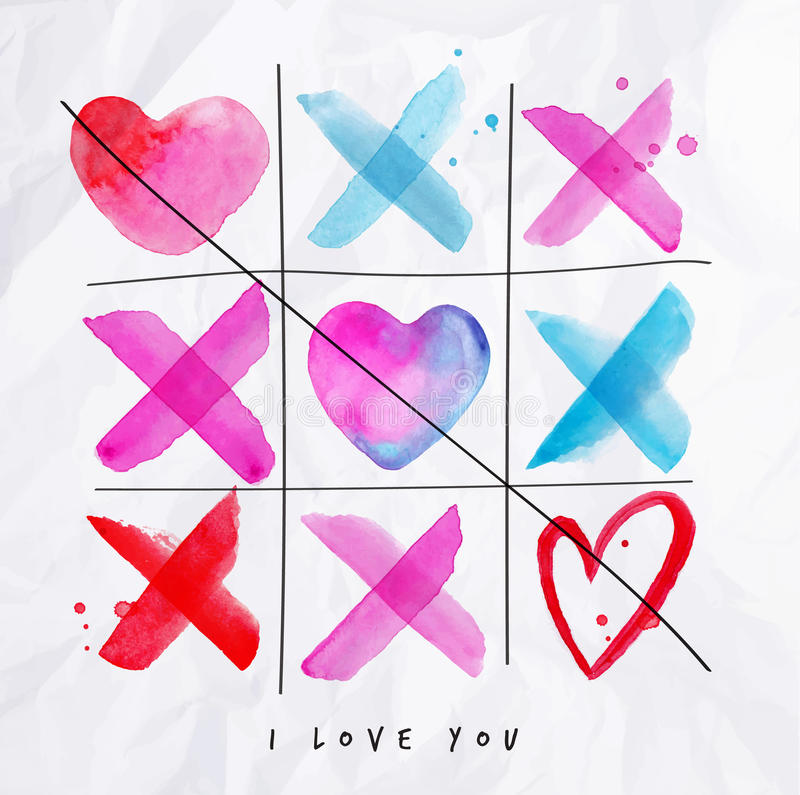 Love noughts and crosses game vector illustration