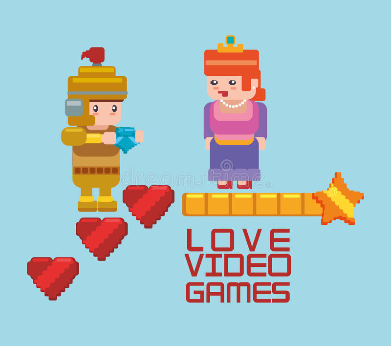 Love online games princess and knight heart. Illustration eps 10 stock illustration