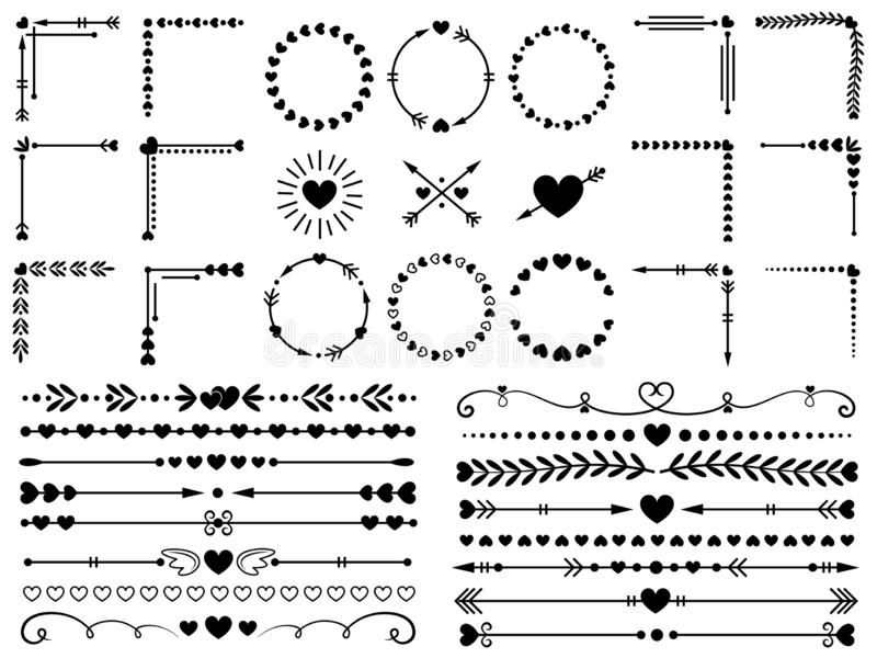 Love ornaments. Wedding hearts ornamental, decorative heart border and inlove frame design ornament vector elements set royalty free illustration