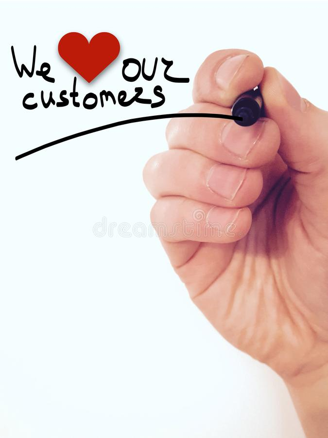 We love our customers business poster stock image