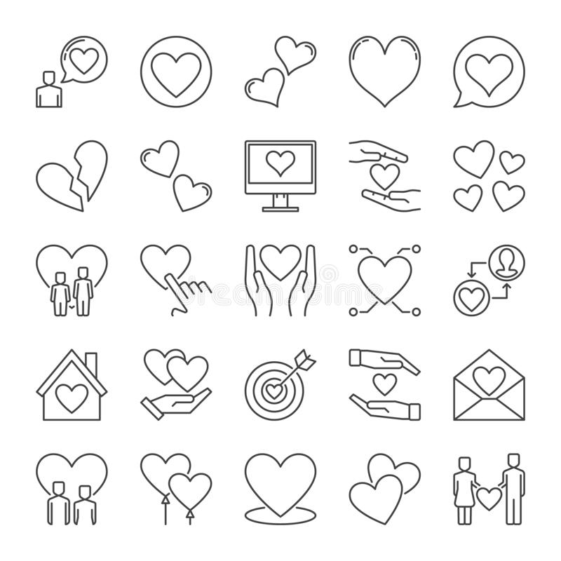 Love outline icons set. Vector collection of Heart linear symbols vector illustration