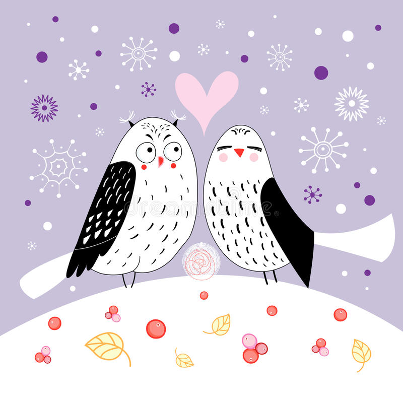 Download Love owls stock vector. Illustration of contour, white - 28127947
