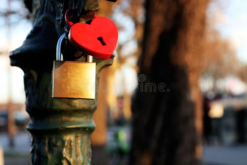 Love padlocks background card with heart shape in Paris, France stock photo