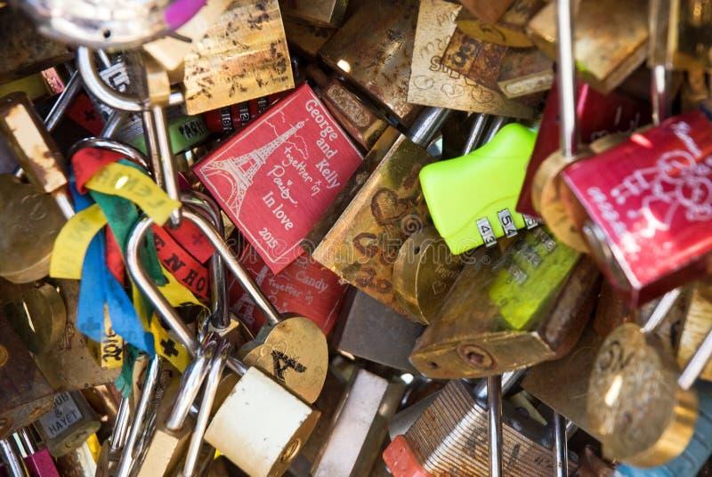 Love padlocks. At bridge Paris Passerelle Leopold Sedar Senghor royalty free stock photography