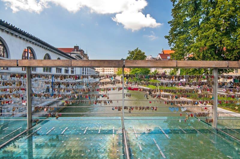 Love padlocks on Butcher's bridge, Ljubljana, Slovenia stock image