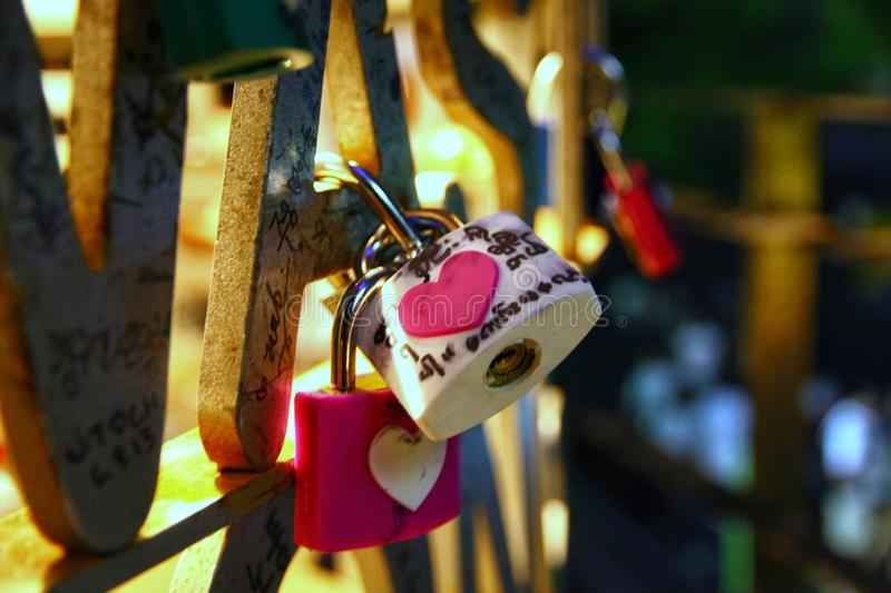 Love padlocks at N Seoul Tower in Seoul city, Korea. Love padlocks at N Seoul Tower in Seoul city, People believe that their love will lock together with this royalty free stock photos