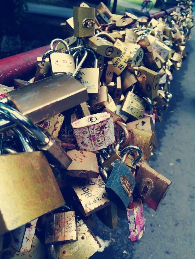 Love in padlocks. Serbia, sweet, endless royalty free stock photography