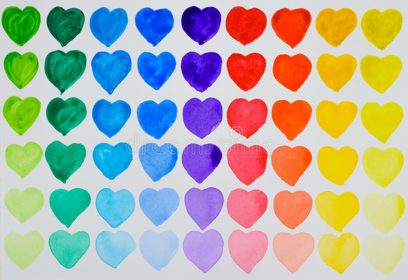 A love of painting. Rainbow watercolour hearts in rows. vector illustration