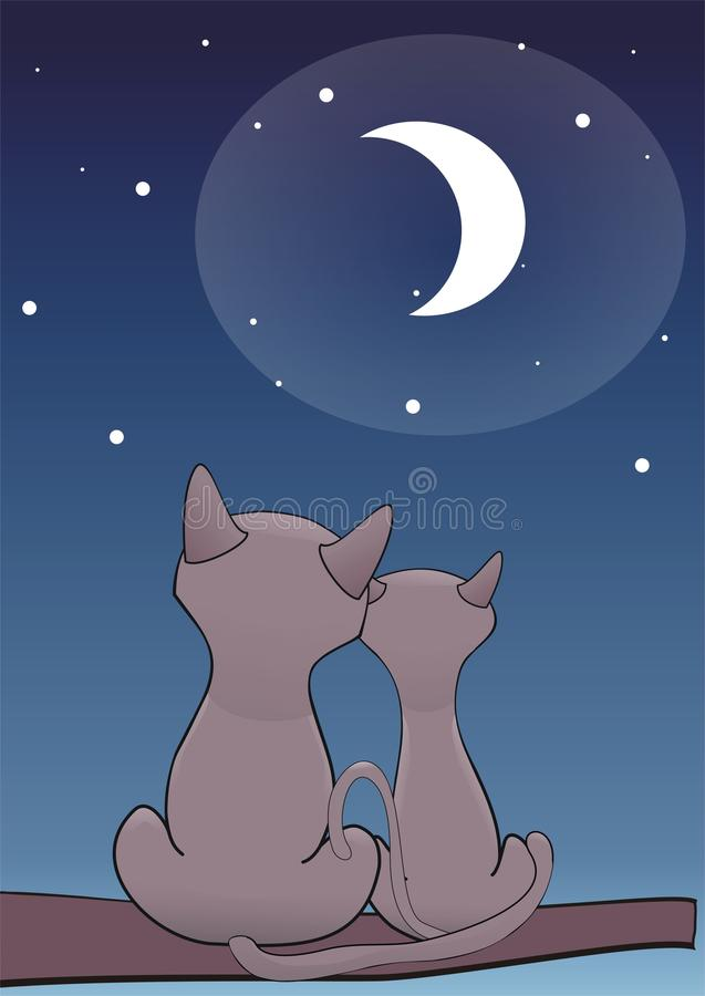 Love pair. A pair of two cats looking at the Moon vector illustration
