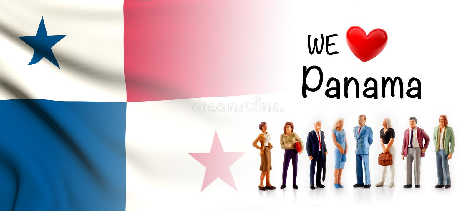 We love Panama, A group of people pose next to the Panamanian flag vector illustration