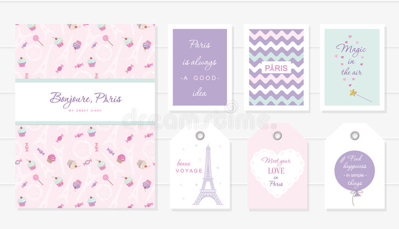 Love in Paris design. Notebook, cards and tags cute templates set. Honey moon, Valentine s, french bakery . Included stock illustration