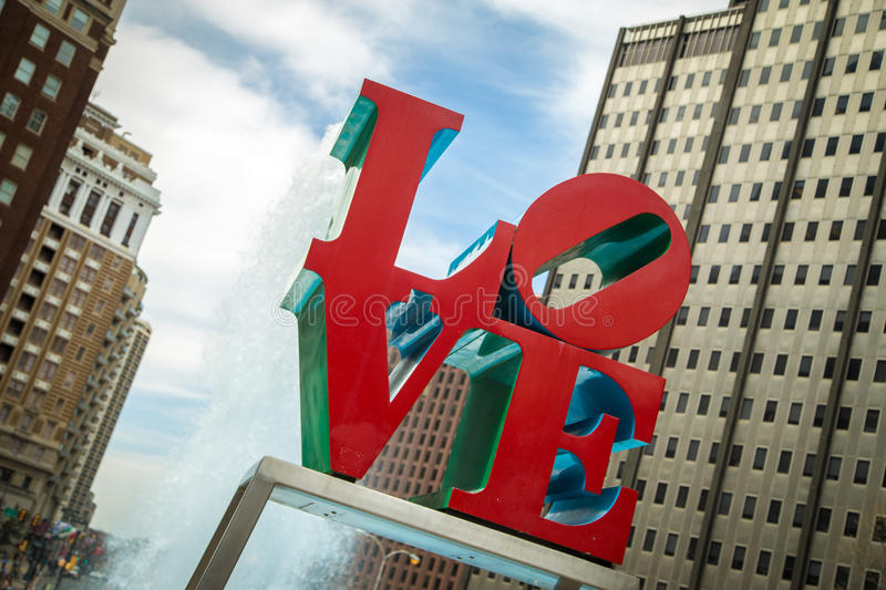 Love Park. The Love Park sign in Philadelphia PA stock images