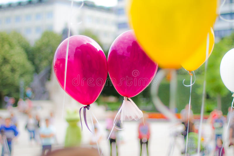Love Party balloons with bokeh background. Colorful party balloons. Party, celebration background concept royalty free stock photography