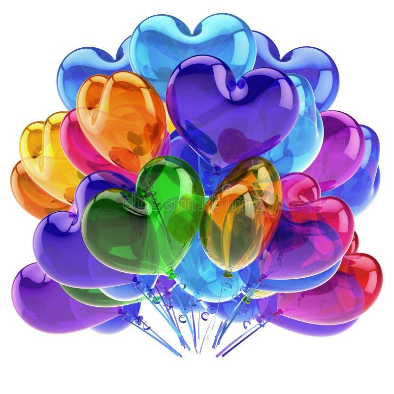 Love party heart balloons colorful birthday decor blue orange green royalty free illustration