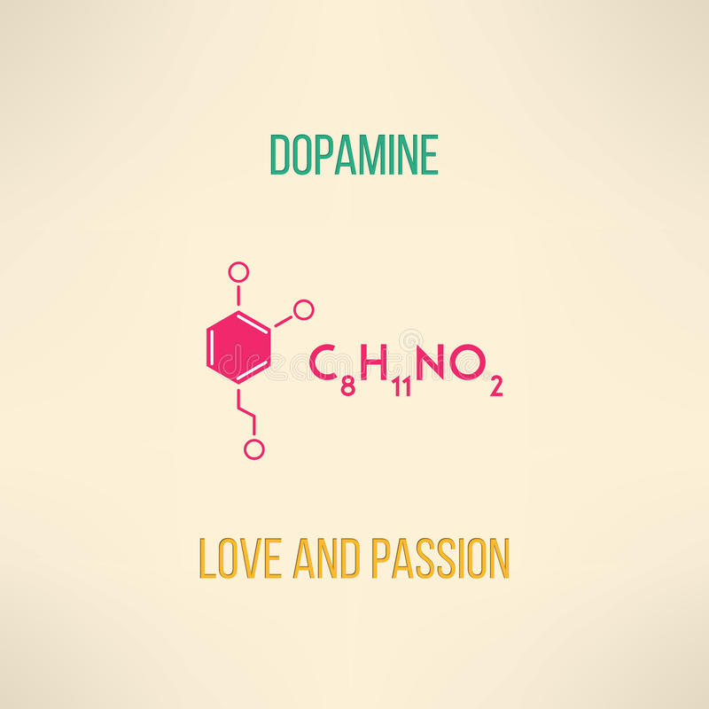 Love and passion chemistry concept. Dopamine vector illustration