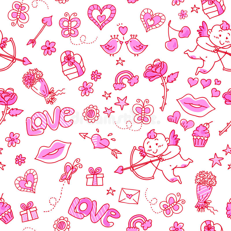 Love pattern. Seamless pattern with love doodles royalty free illustration