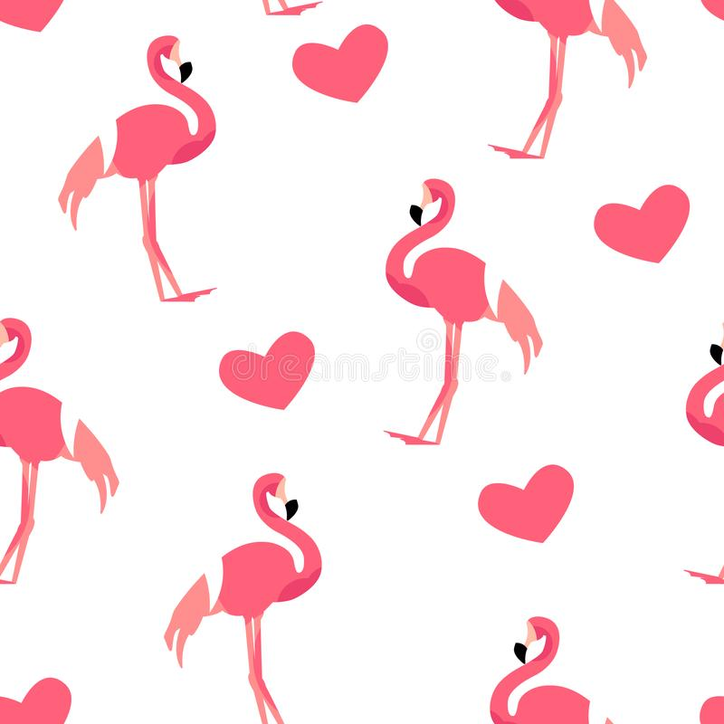 Love pattern with cute flamingo and hearts on white background. Ornament for textile and wrapping. Vector.  stock illustration