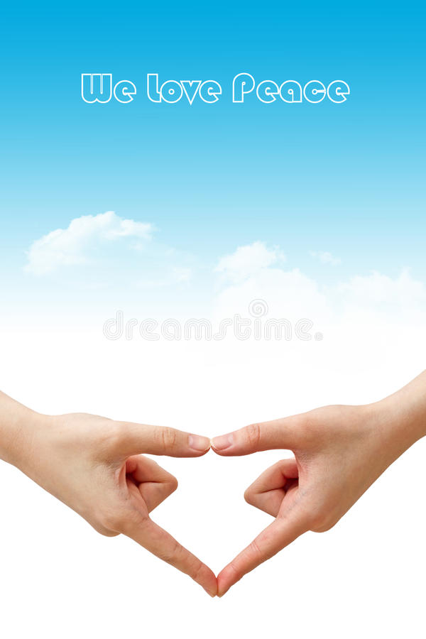 We love peace. Abstract background of hand gesture and sky. We love peace royalty free stock image
