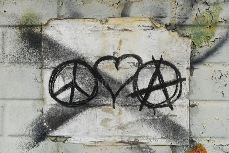 Love Peace and Anarchy royalty free stock images