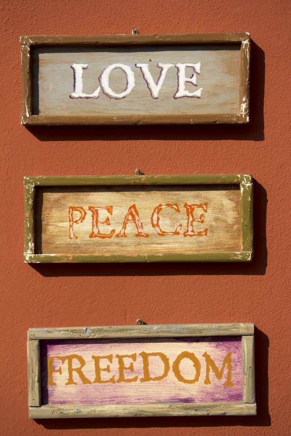 Love, Peace, Freedom royalty free stock photo