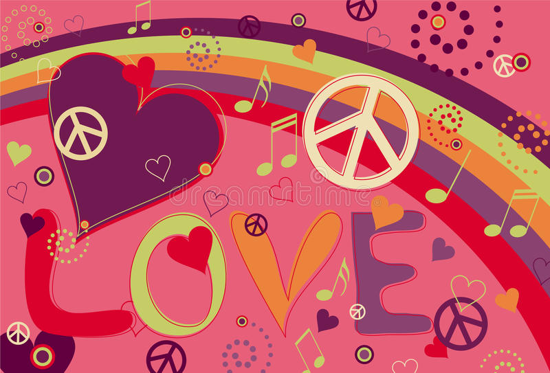 Love Peace and Hearts in Pink royalty free illustration