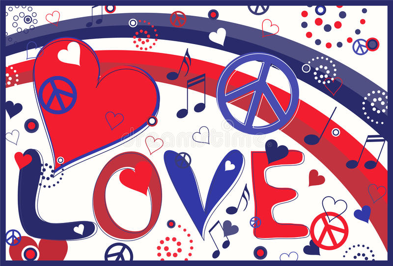 Love Peace and Hearts in Red White and Blue stock illustration