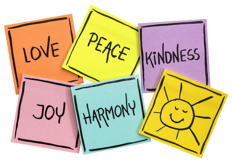 Love, peace, kindness, joy and harmony. With sun smiley - isolated set of sticky notes with inspirational words royalty free stock image