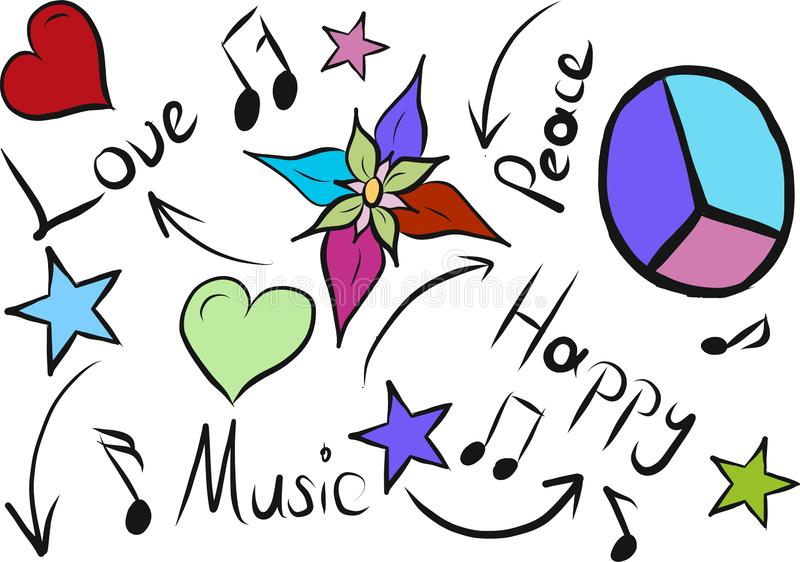 Love peace music happy sketch royalty free illustration