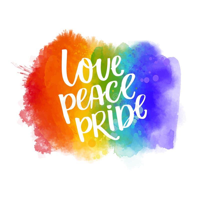 Love, peace, pride. Gay parade slogan handwritten on rainbow watercolor texture.  stock illustration