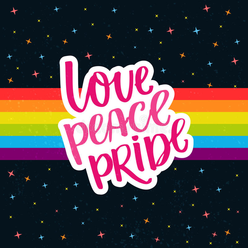 Love, peace, pride. Words on rainbow parade flag at dark sky with stars. Gay pride saying for stickers, t-shirts and. Posters stock illustration