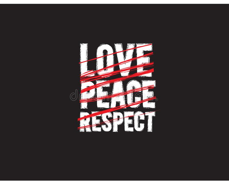Love peace respect icon with black background stock illustration