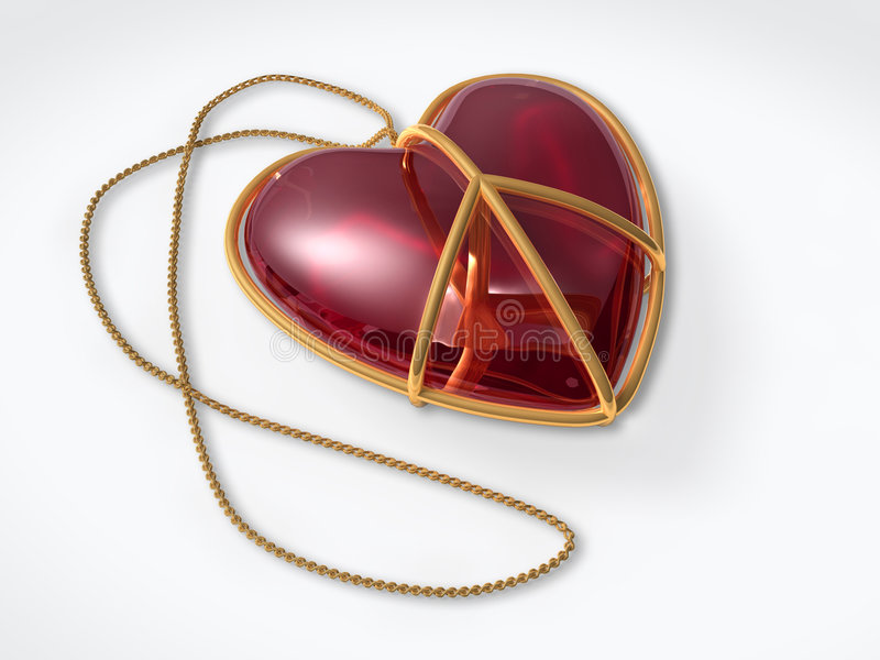 Love Peace Sign As A Jewelry Gift With Clipping Path Royalty Free Stock Photography