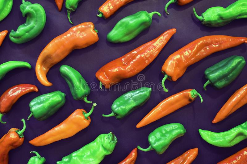 Love peppers shape and color contrast. Pop art style. stock image