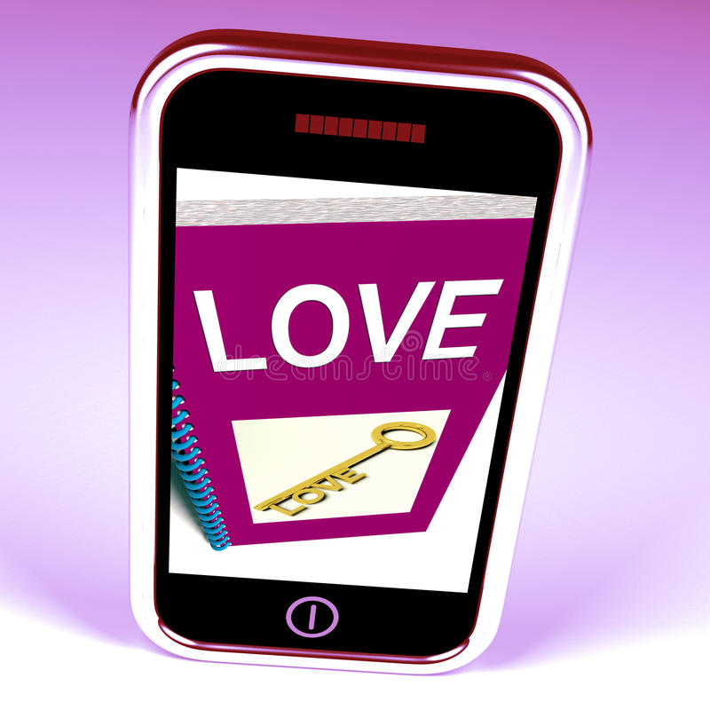 Love Phone Shows Key to Affectionate Feelings. Love Phone Showing Key to Affectionate Feelings stock illustration