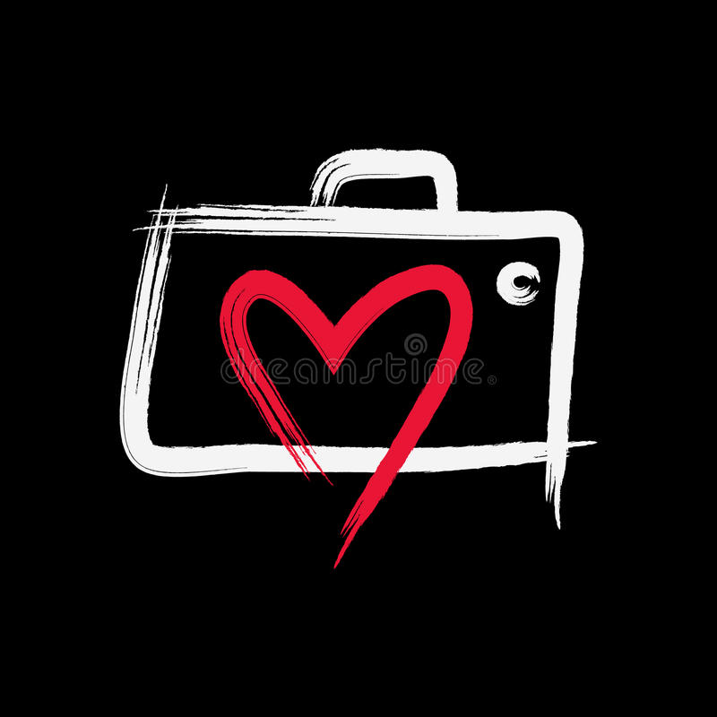Love Photography Logo. A simple hand drawn camera photography symbol for your business that quite unique so it can stand from the crowd. Easy to implement in royalty free illustration
