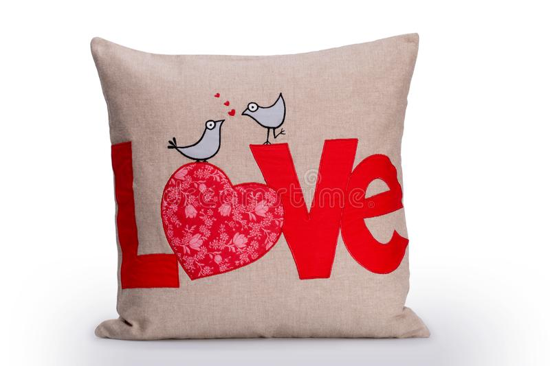 Love Pillow, Red Love Letters And Two Birds Embroidered On Brown stock images
