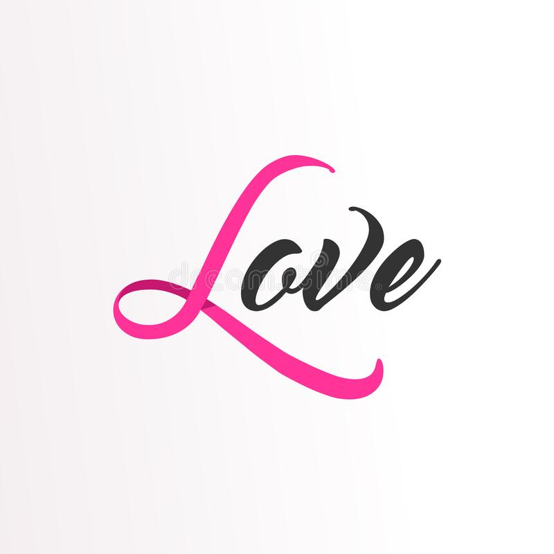 Love Pink ribbon text for Breast Cancer Awareness. Breast Cancer Awareness typography quote for care and support. Love text calligraphy message made of pink vector illustration