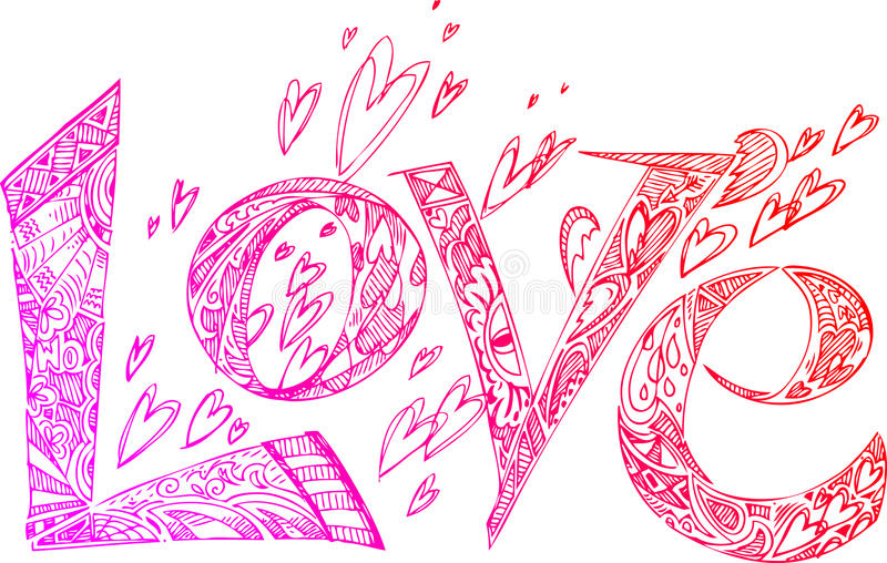 LOVE pink sketchy doodles stock images