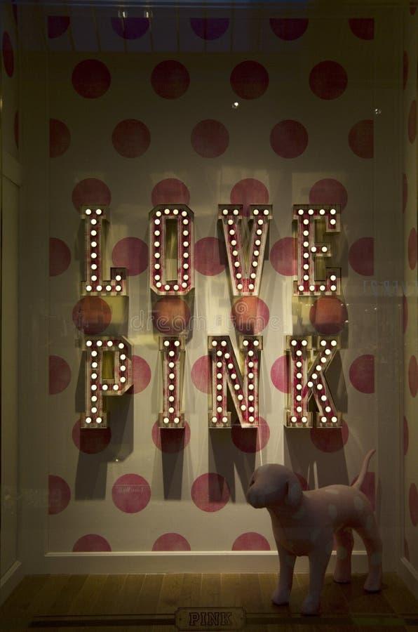 Love Pink Victoria Secret store window royalty free stock photo