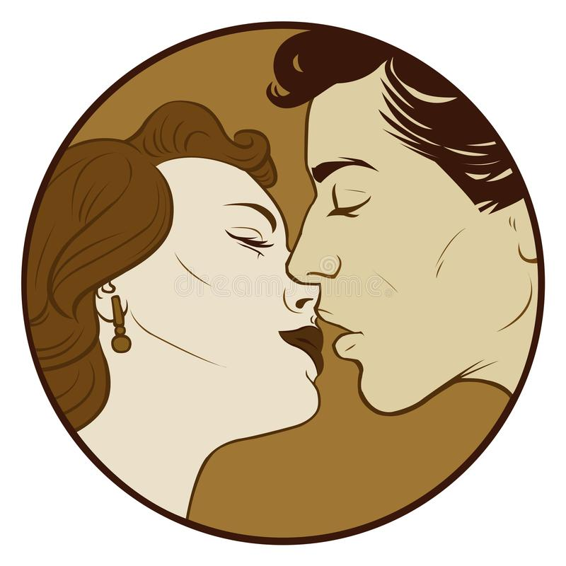 Kissing couple in sepia color. Love Pop Art illustration of Kissing Couple.Pop Art love. Valentines day postcard.People in retro style pop art and vintage stock illustration
