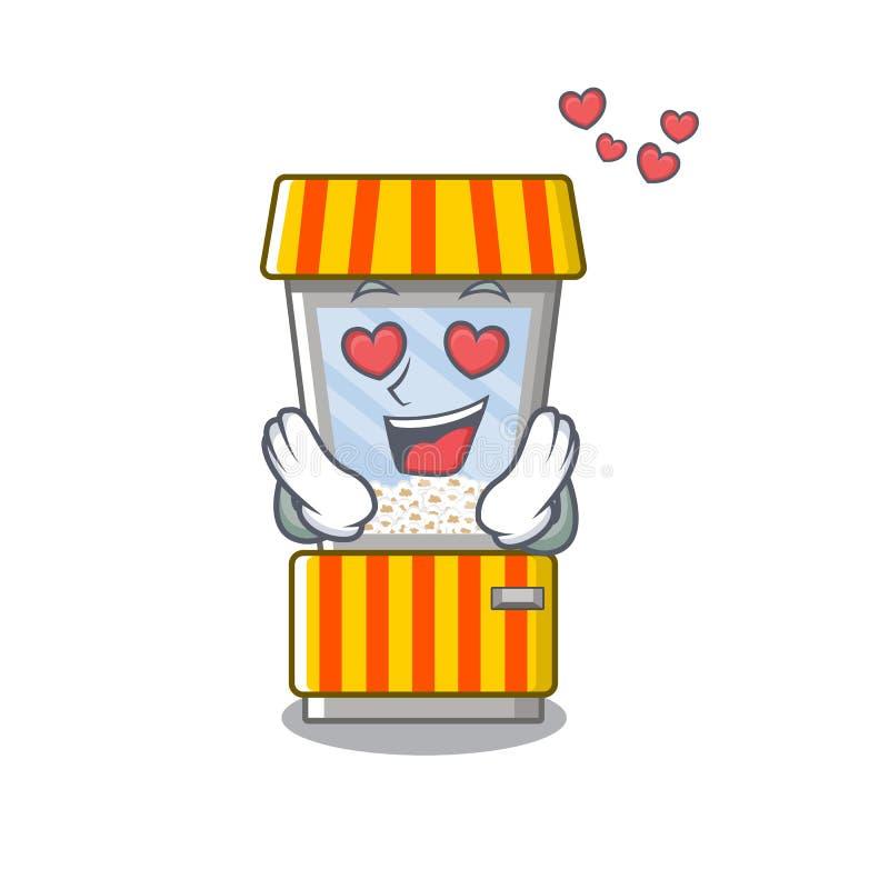 In love popcorn vending machine is formed cartoon. Illustration vector vector illustration