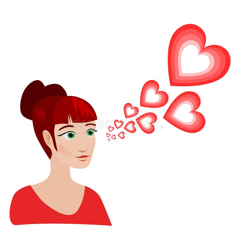 She is in love. The portrait of an attractive red haired woman with green eyes and a red dress on a white background. Red thought balloons in the form of stock illustration