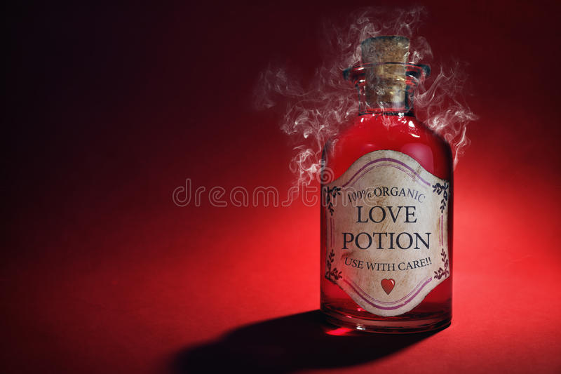 Love potion. Bottle, concept for dating, romance and valentine's day stock photo