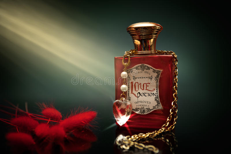 Love potion in a bottle royalty free stock photos